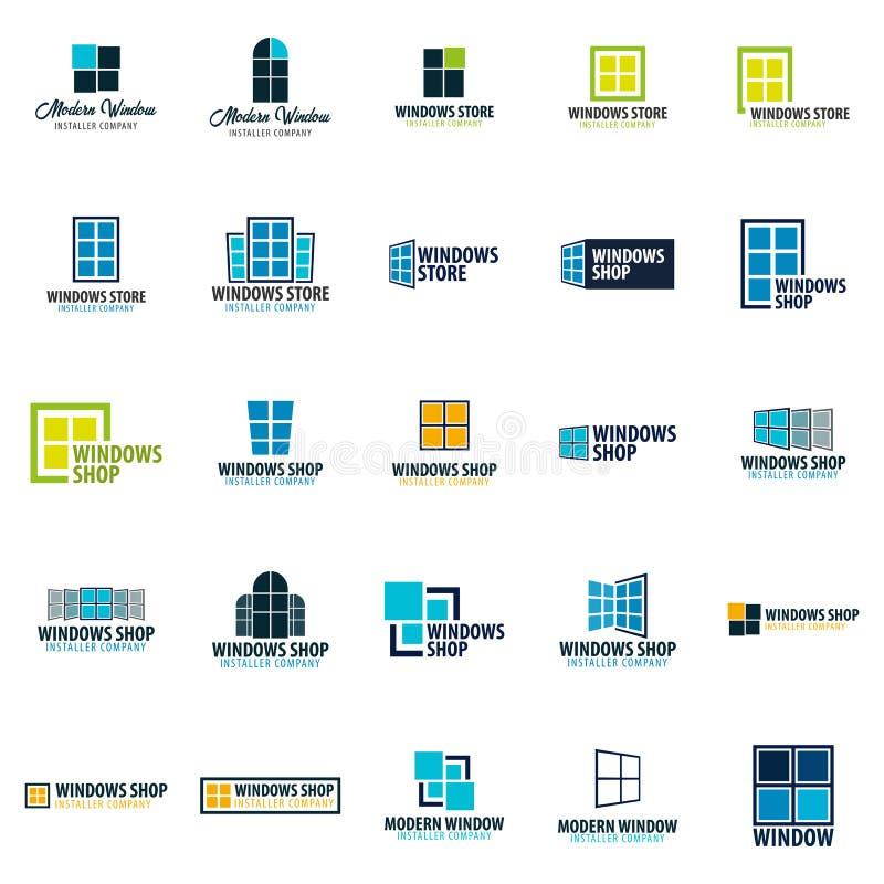Комплект магазина Windows логотипа Компания установителя также вектор иллюстрации притяжки corel иллюстрация штока
