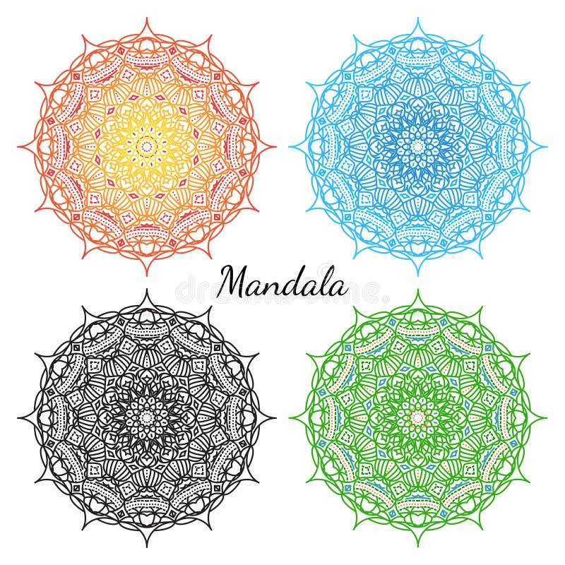 Комплект мандалы Восточный круглый орнамент Элементы вектора иллюстрация штока