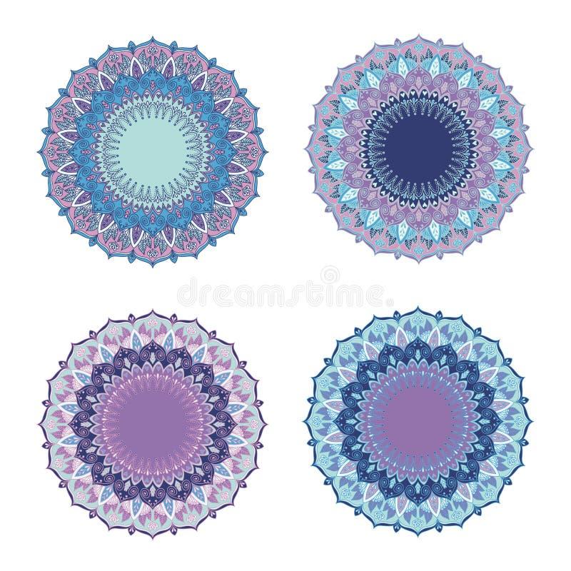 Комплект мандалы Круглая картина орнамента иллюстрация вектора