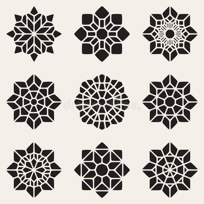 Комплект мандалы черного вектора 9 декоративной орнаментирует иллюстрацию иллюстрация штока