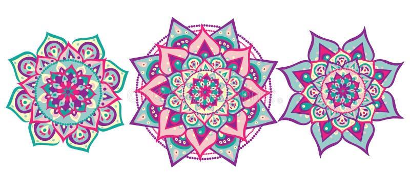 Комплект мандалы иллюстрация штока
