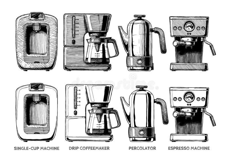 Комплект машин кофе иллюстрация штока