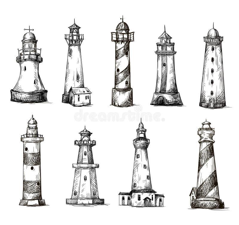 Комплект маяков шаржа. значки. чертеж карандаша  иллюстрация штока