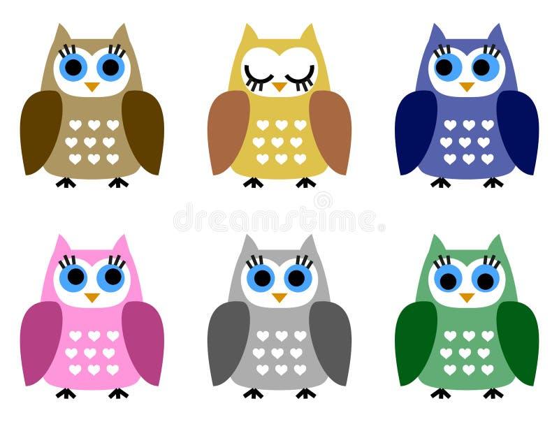 Комплект 6 маленьких owlets бесплатная иллюстрация