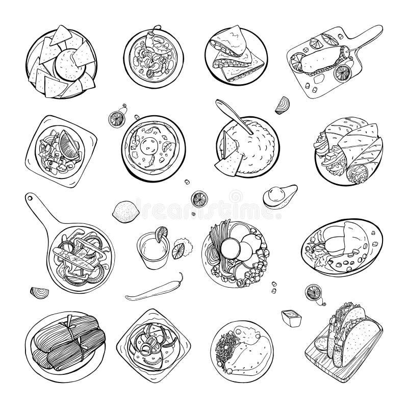 Комплект мексиканской традиционной еды Chili супа фасоли различного собрания блюд пряный, nachos, tortilla, fachitos иллюстрация штока