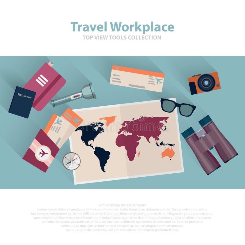 Комплект места для работы перемещения infographic Перемещение планирования концепции Взгляд сверху также вектор иллюстрации притя бесплатная иллюстрация