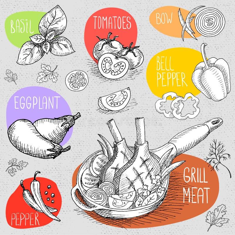 Комплект мела нарисованный на еде классн классного, специях бесплатная иллюстрация