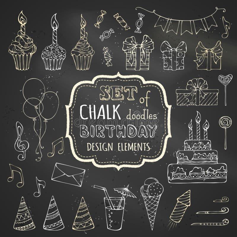 Комплект мела нарисованных вручную элементов дизайна дня рождения стоковые изображения