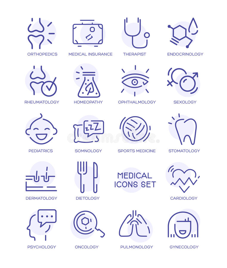 Комплект медицинских значков, линия вектора подписывает иллюстрация вектора