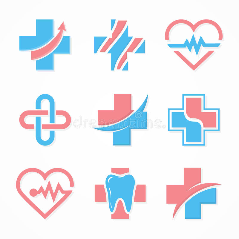 Комплект медицинского перекрестного логотипа Шаблон дизайна логотипа фармации Логотип зуба зубоврачебный логос Логотип медицинско иллюстрация штока