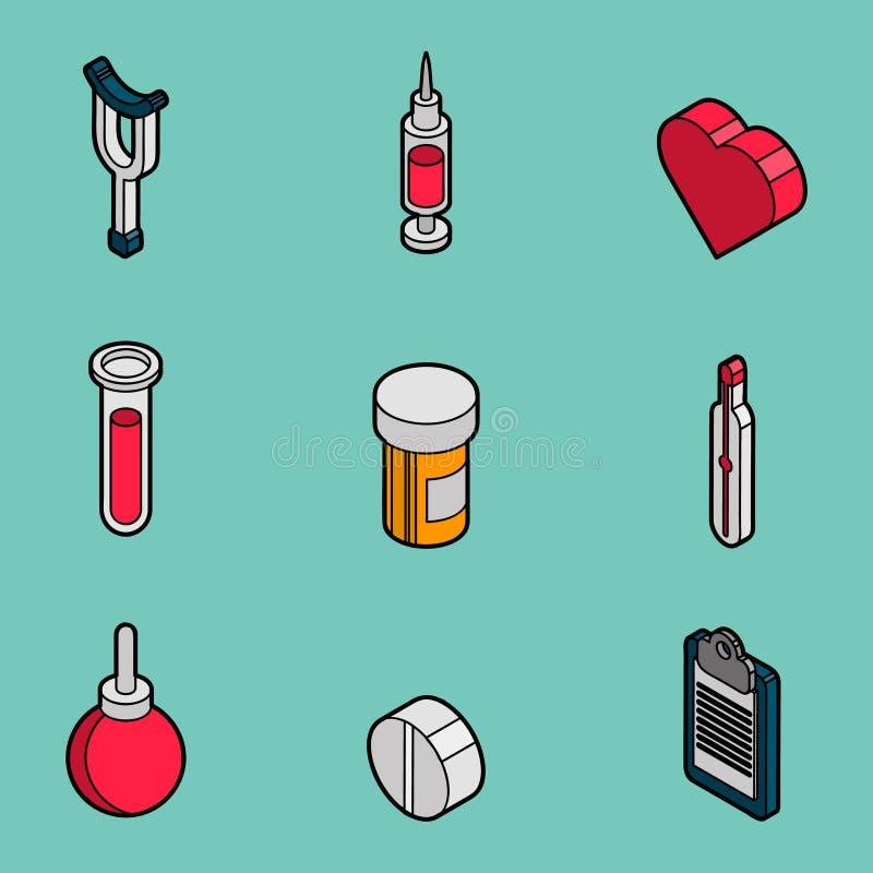Комплект медицинского плоского плана равновеликий иллюстрация штока