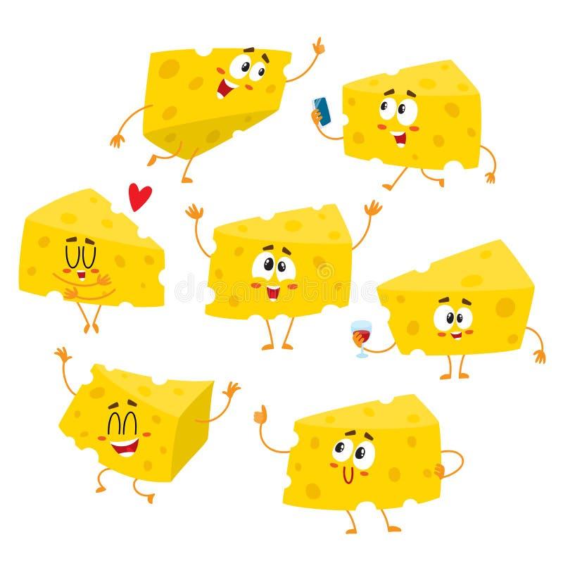 Комплект милого и смешного характера ломтя сыра показывая различные эмоции иллюстрация вектора