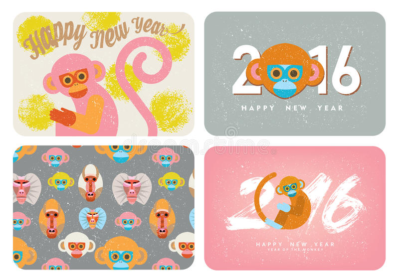 Комплект милой карточки с обезьянами иллюстрация вектора