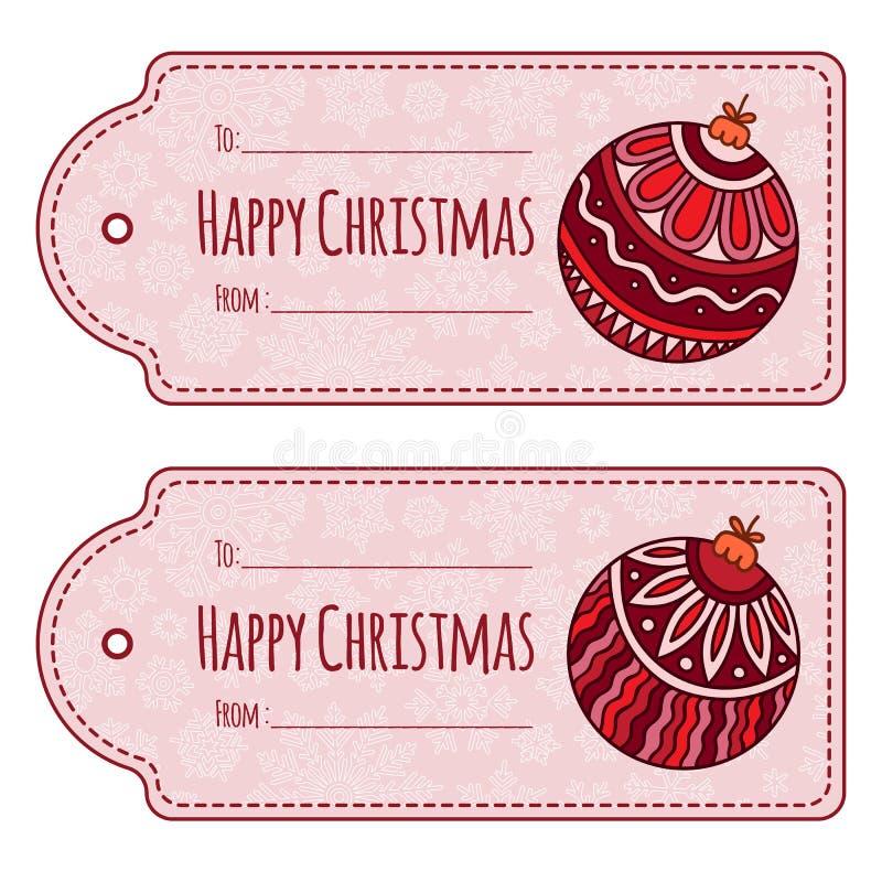 Комплект милых бирок подарка рождества, бесплатная иллюстрация
