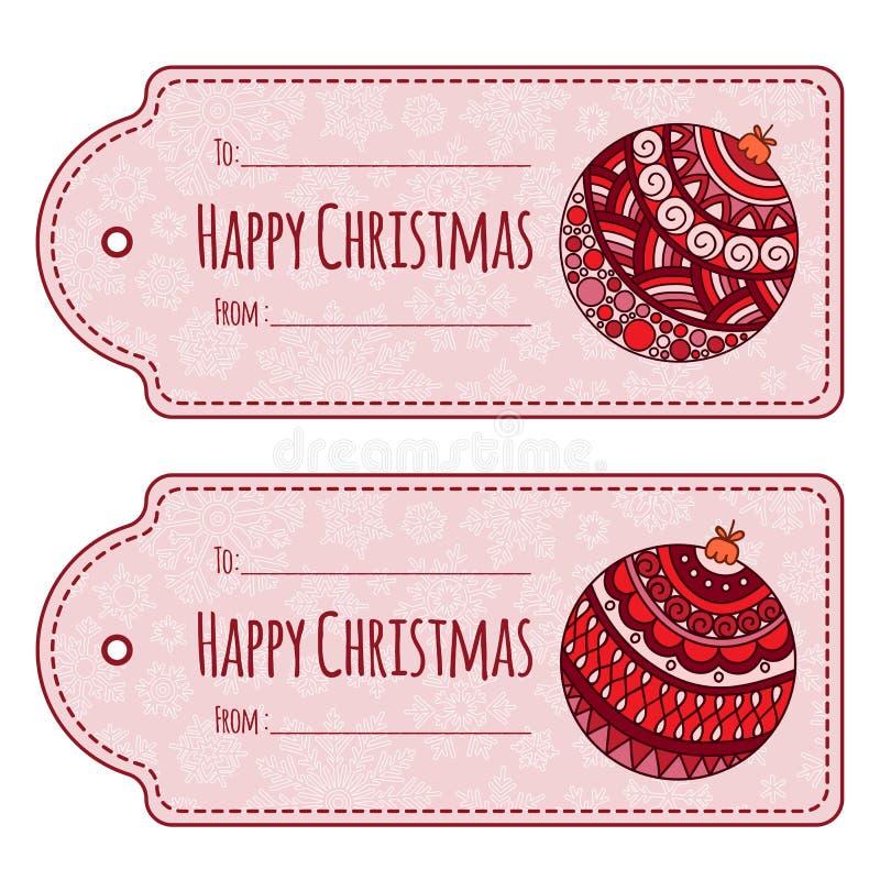 Комплект милых бирок подарка рождества, иллюстрация вектора