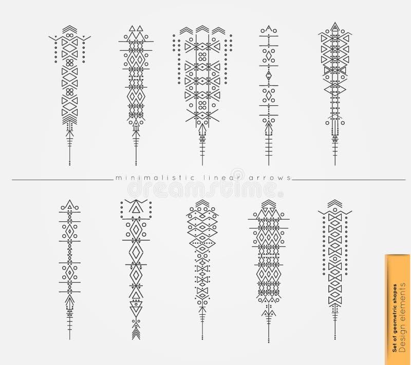 Комплект милых геометрических ультрамодных стрелок битника иллюстрация вектора