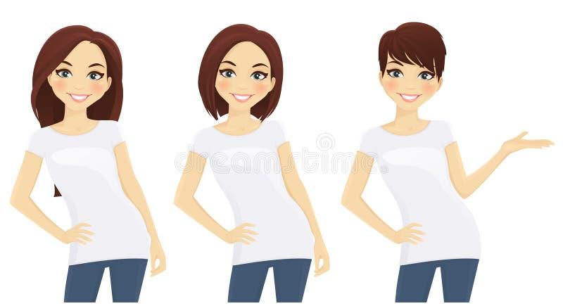 Комплект милых девушек в белых футболках иллюстрация штока