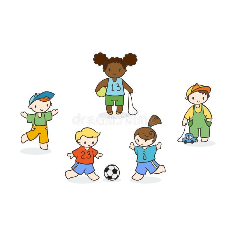Комплект милых детей doodle иллюстрация штока