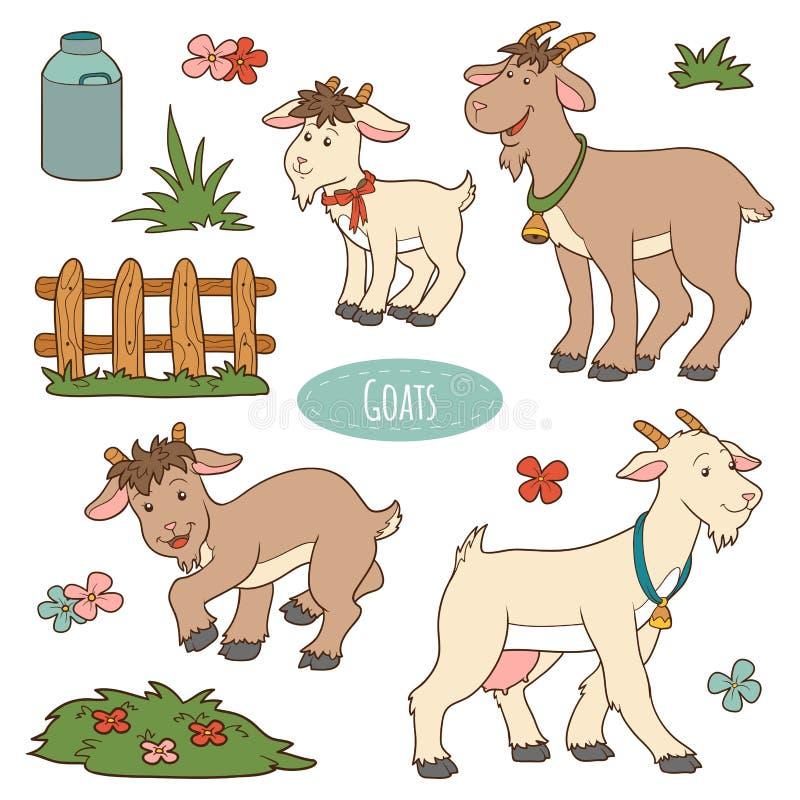 Комплект милых животноводческих ферм и объектов, коз семьи вектора бесплатная иллюстрация