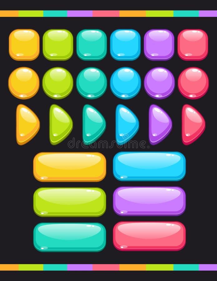 Комплект милых красочных лоснистых кнопок иллюстрация вектора