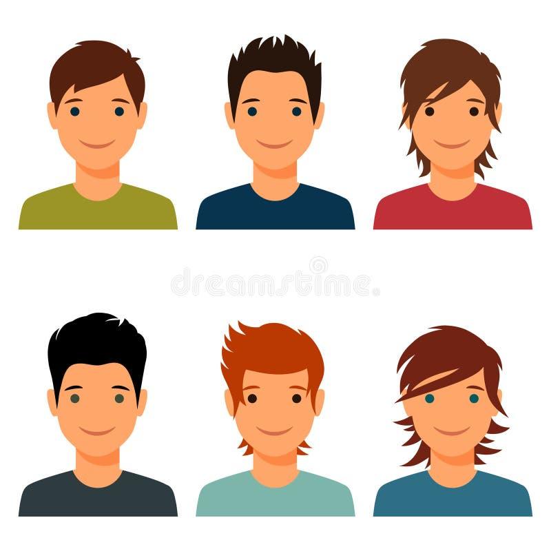 Комплект милых молодых мальчиков с различной прической иллюстрация штока