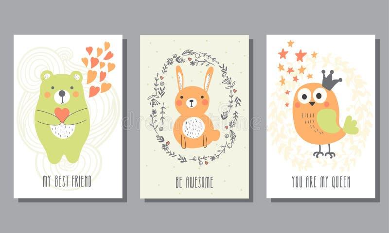 Комплект милых поздравительных открыток бесплатная иллюстрация