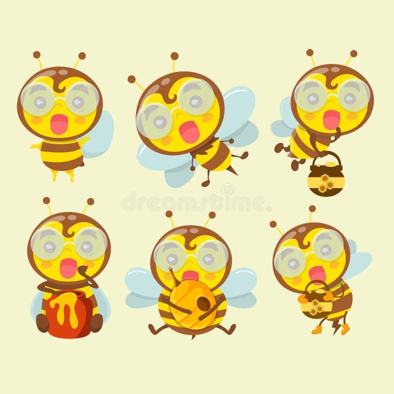Комплект милых пчел шаржа иллюстрация вектора