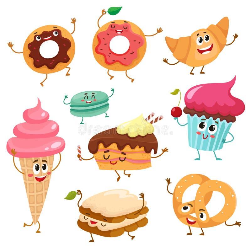 Комплект милых, смешных характеров десерта smiley иллюстрация вектора