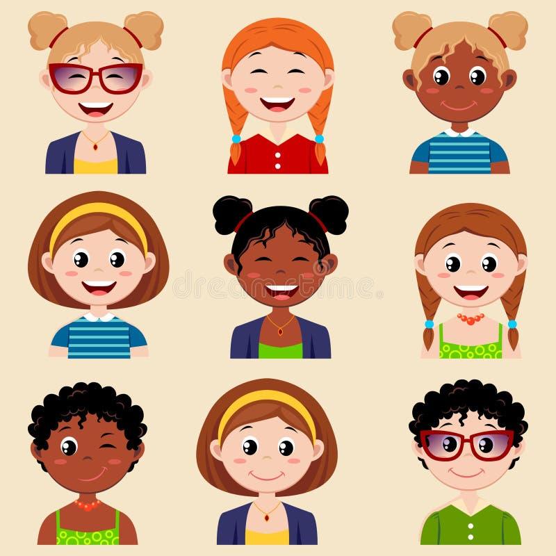 Комплект милых характеров девушки с различными стилем причёсок и одеждами Воплощение девушек бесплатная иллюстрация