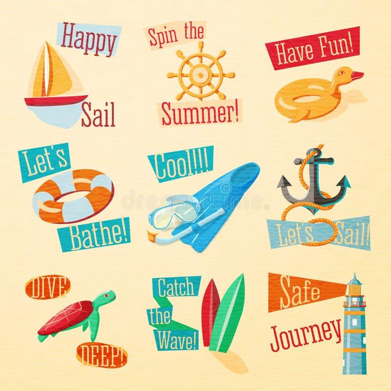 Комплект милых ярких значков лета с типографским иллюстрация штока