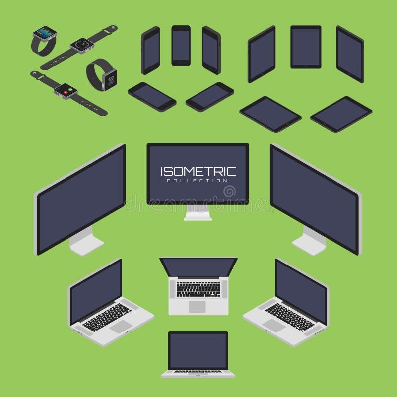 Комплект мобильного телефона, умного вахты, таблетки, компьтер-книжки, компьютера от иллюстрации векторной графики значка 4 сторо иллюстрация вектора