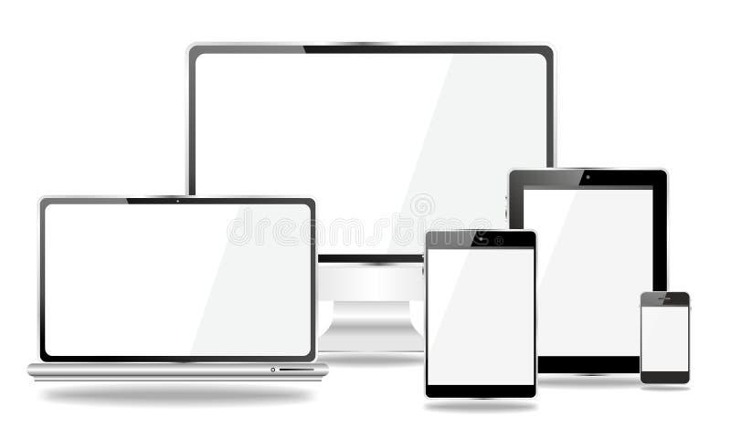 Комплект мобильных устройств, smartphone, ПК таблетки, компьтер-книжка иллюстрация вектора