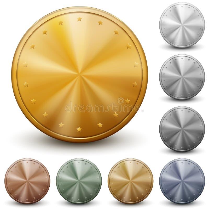Комплект монеток без надписей иллюстрация штока