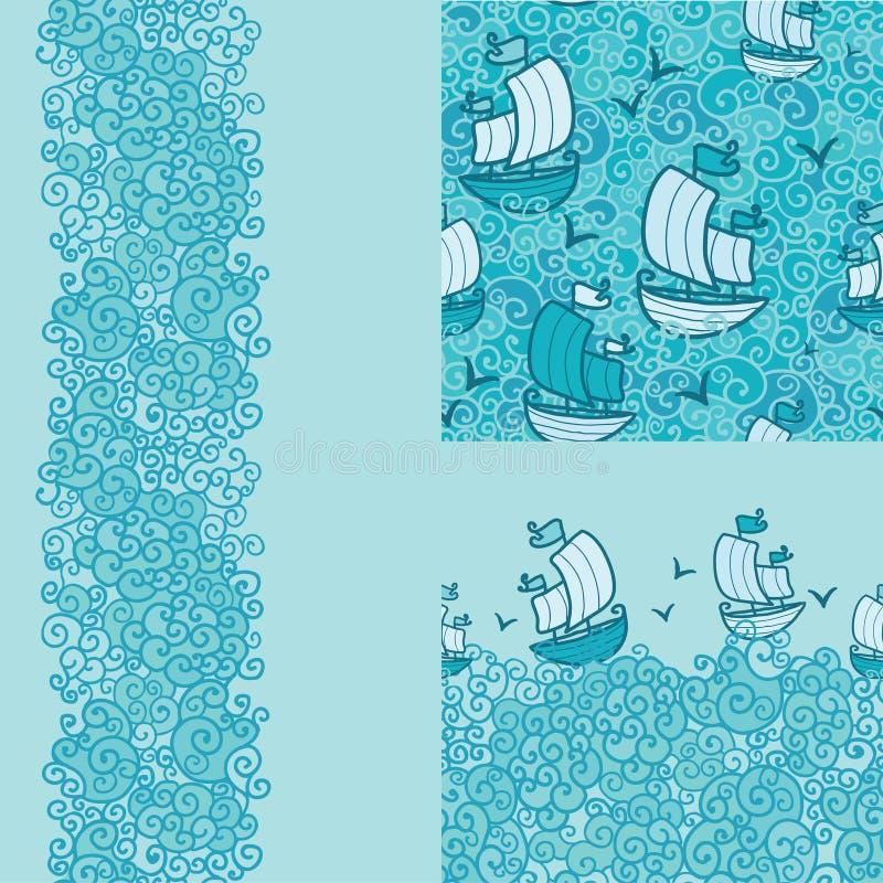 Комплект 3 морские безшовные картина и границы бесплатная иллюстрация