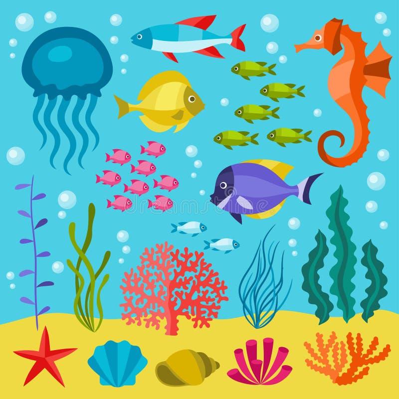 Комплект морской флоры и фауны значков, объектов и морских животных бесплатная иллюстрация