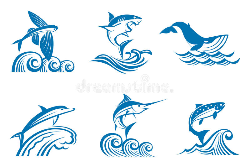 Комплект морской флоры и фауны на волнах иллюстрация вектора