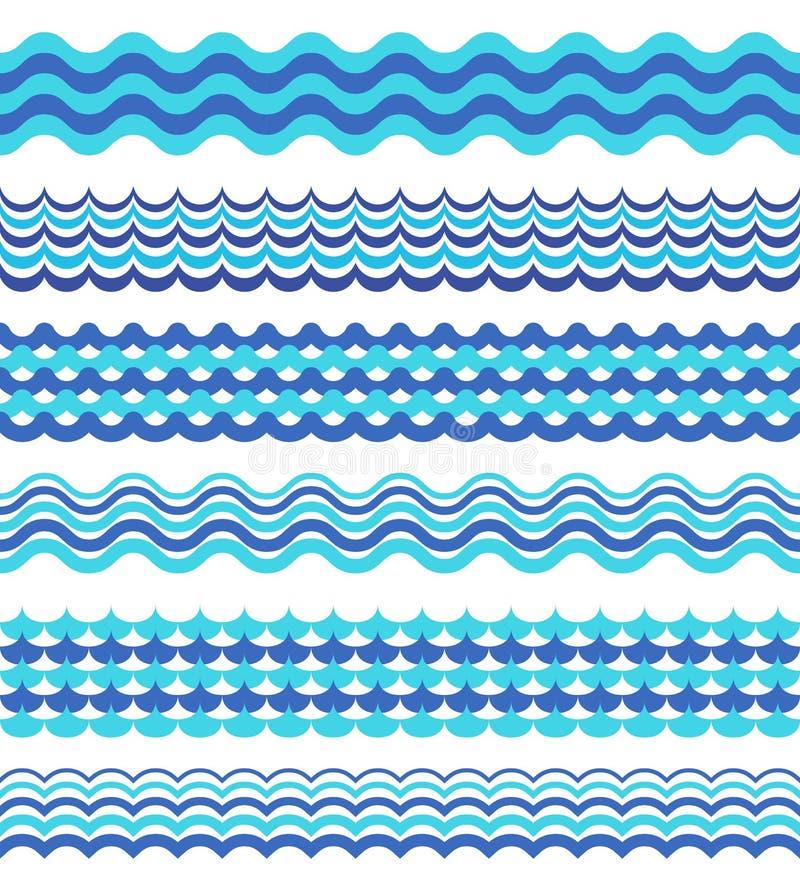 Комплект моря развевает границы изолированные на белизне бесплатная иллюстрация