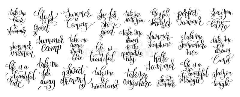 Комплект мотивировки 25 и вдохновляющих цитат о trave лета бесплатная иллюстрация