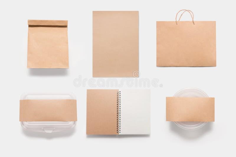 Комплект модель-макета еды клеймя изолированный на белой предпосылке Скопируйте Spac стоковые изображения