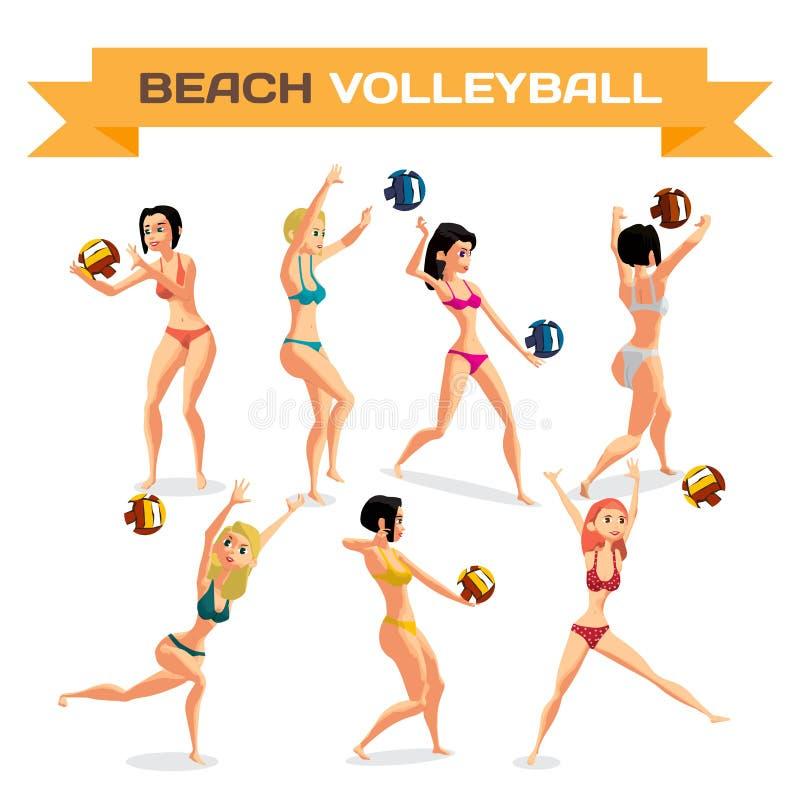 Комплект молодых женщин играя волейбол пляжа в бикини бесплатная иллюстрация