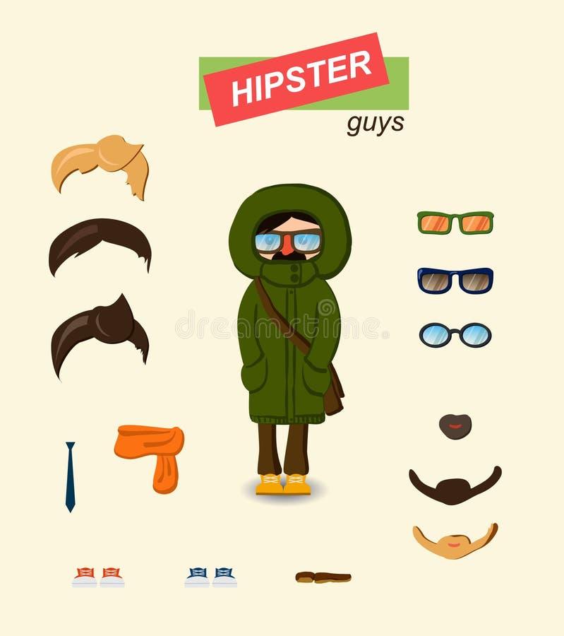 Комплект моды парней битника бесплатная иллюстрация