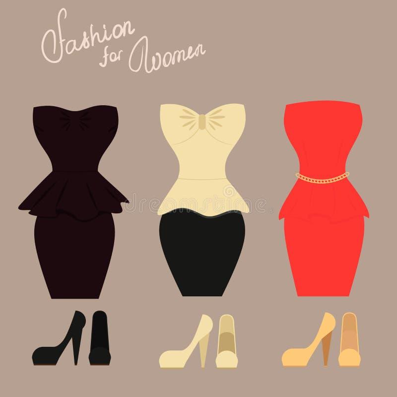 Комплект моды элегантных платьев с ботинками для бесплатная иллюстрация