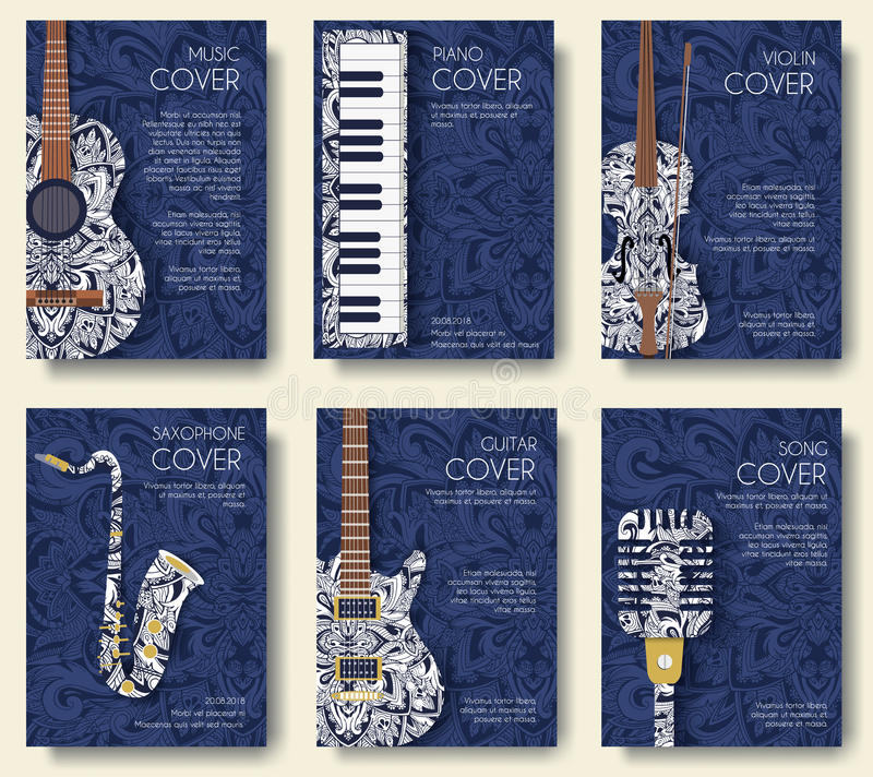 Комплект музыкальной концепции иллюстрации орнамента Музыка искусства, плакат, книга, плакат, конспект, мотивы тахты, элемент век стоковое изображение