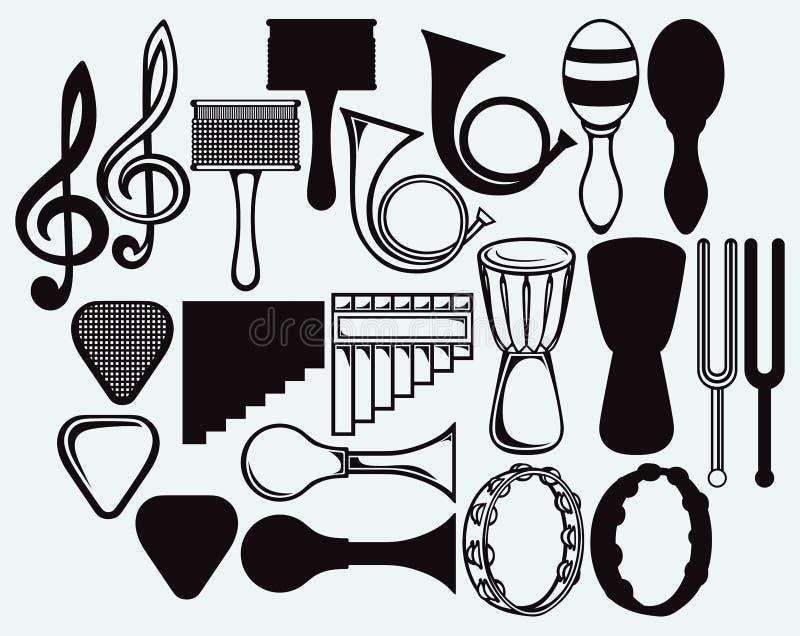 Комплект музыкальных инструментов иллюстрация штока