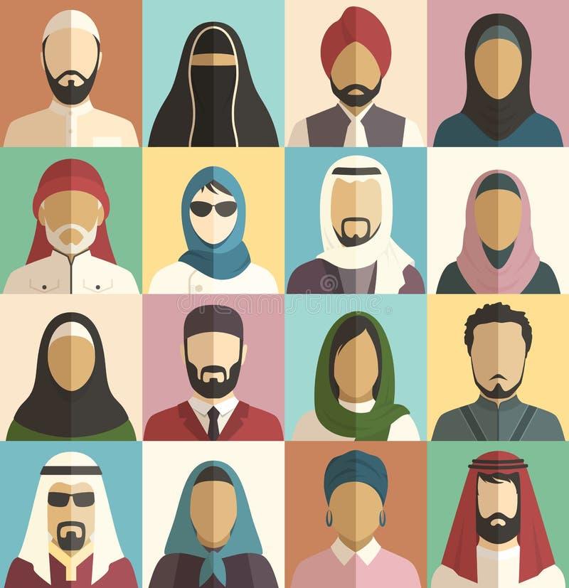 Комплект мусульманских исламских людей смотрит на значки характеров воплощений иллюстрация вектора