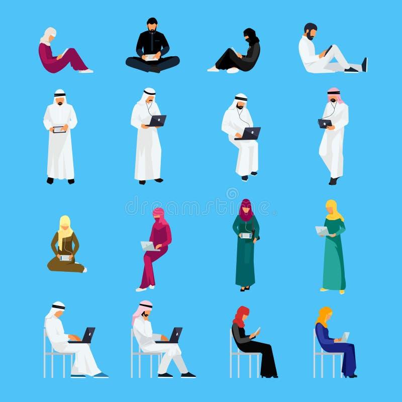 Комплект мусульманских людей в плоском стиле изолированных на голубом backgrou бесплатная иллюстрация