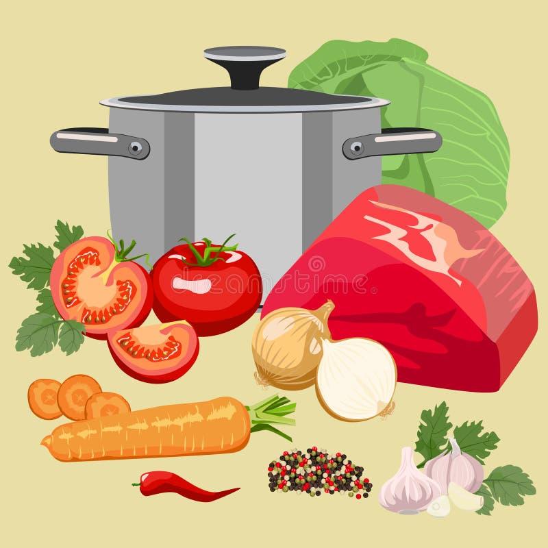Комплект мяса и овощей иллюстрация штока