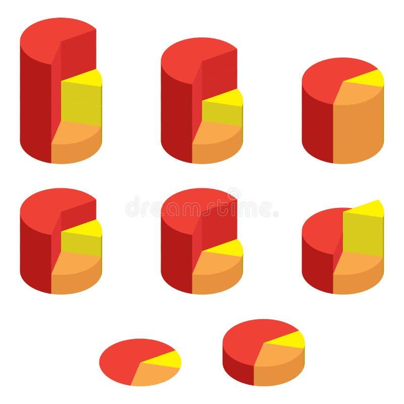 Комплект навальных красных и желтых равновеликих долевых диограмм Долевые диограммы шаблонов реалистические трехмерные иллюстрация вектора