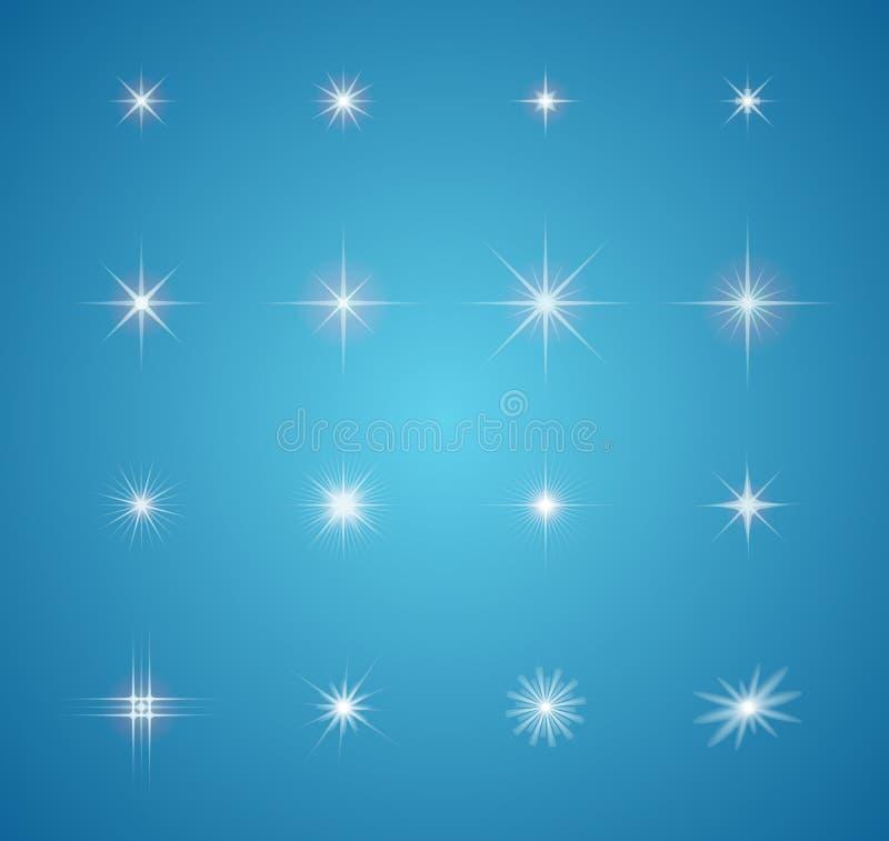 Комплект накаляя взрывов звезд светового эффекта иллюстрация вектора