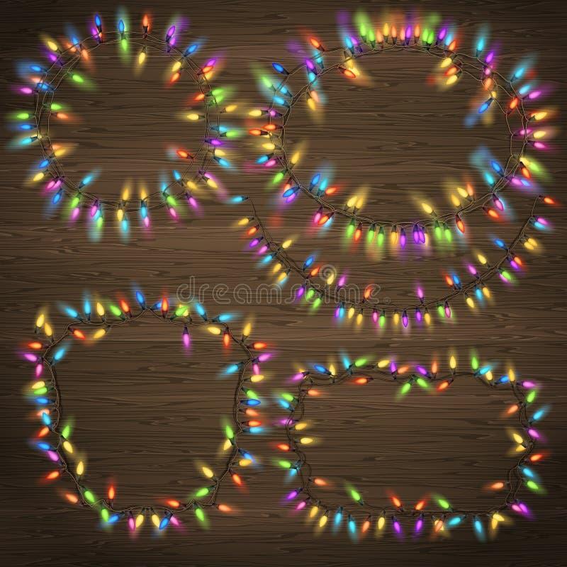Комплект накаляя гирлянды рождества 10 eps иллюстрация вектора